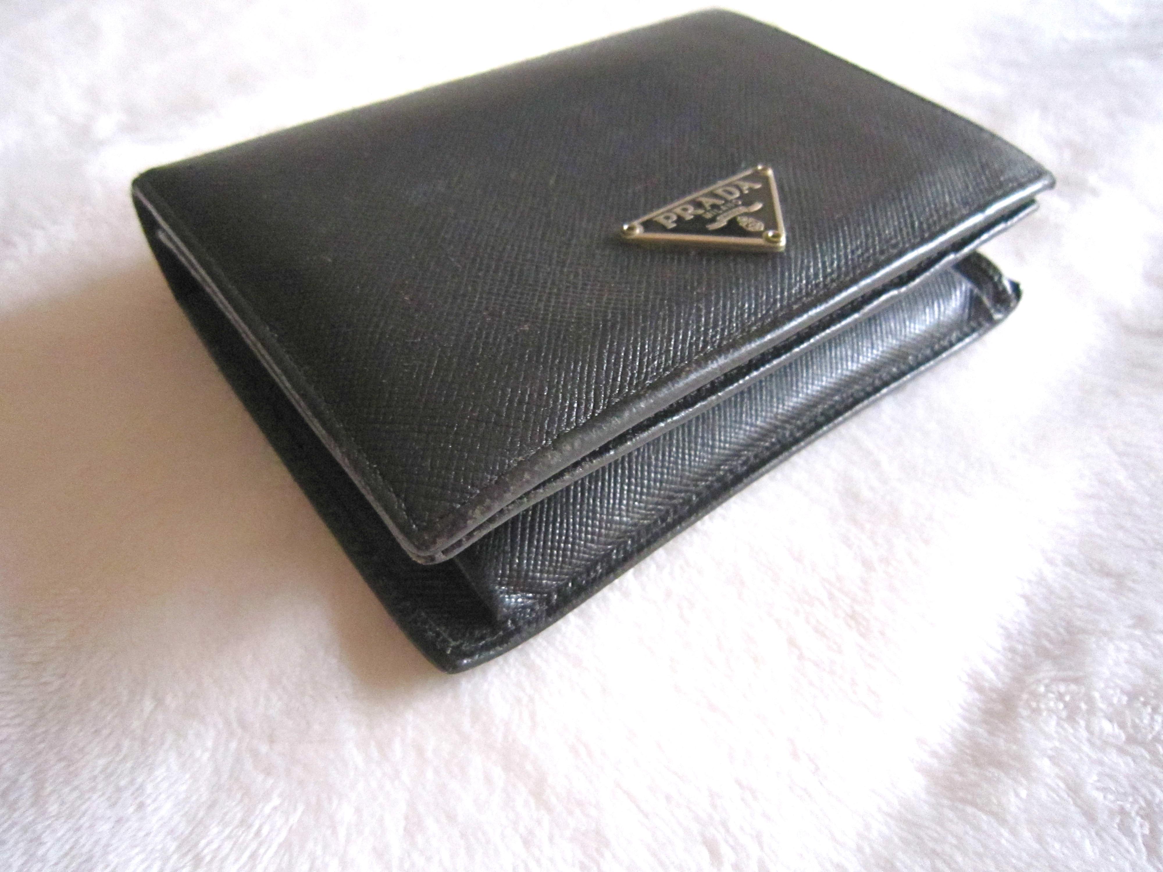 eed3d3d5b94591 Prada Black Saffiano Leather Bi-Fold Wallet - Luxurylana Boutique