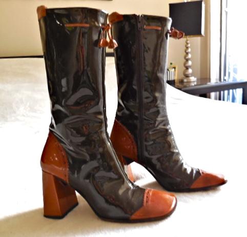 Stephanie De Raucourt Patent Leather Boots