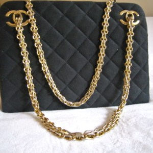 Vintage Chanel Black Cotton Gold Chain Shoulder Handbag