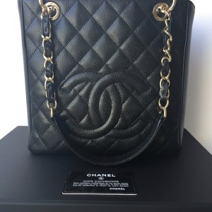 Chanel PST Black Caviar Petit Shopping Tote Bag