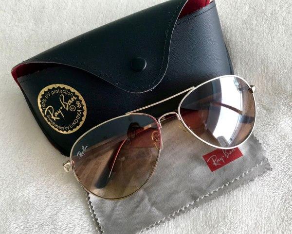 Ray-Ban Gold + Brown Aviator Sunglasses