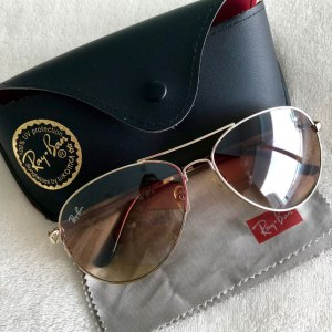 Ray-Ban Gold + Brown Aviator Sunglasses