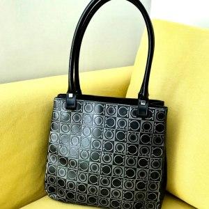 Salvatore Ferragamo Vintage Black Leather Gancini Shoulder Bag