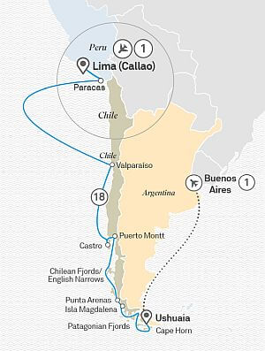 Luxury South America cruise itinerary