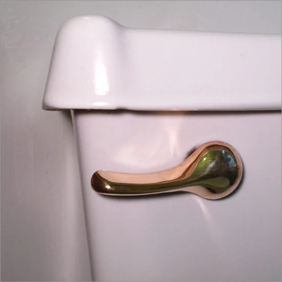 A Solid Gold Toilet Flush Handle Will Drain Away Your