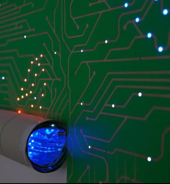 Led Wallpaper With Computer Chip Motif Illuminates The Walls