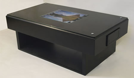 retro tech coffee table features blu