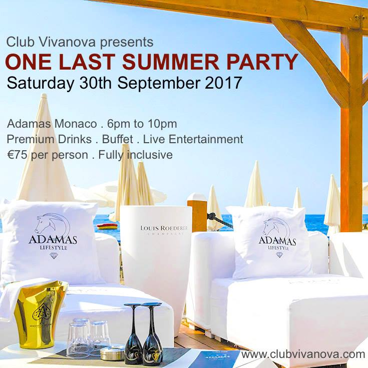 Club Vivanova Presents ONE LAST SUMMER PARTY – Adamas Monaco