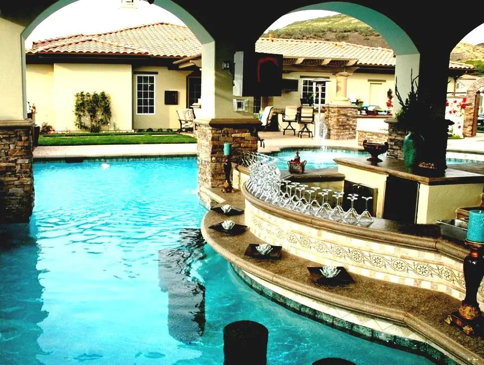 Create a Polished Poolside Bar - Luxury Pools + Outdoor Living on Best Backyard Bars  id=55126