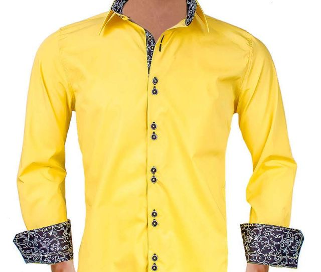 Bright Yellow With Black Contrast Dress Shirts Copy