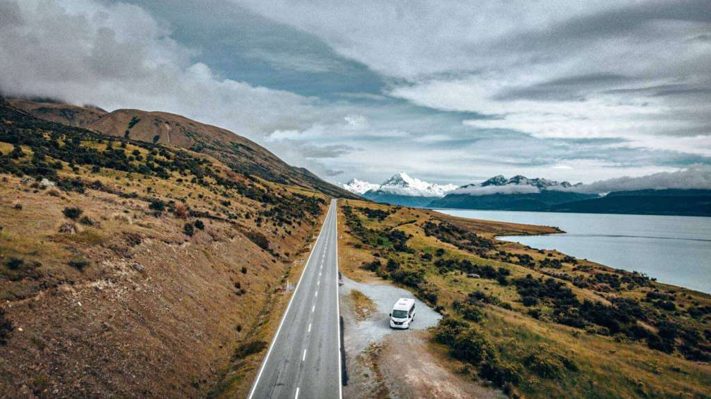 Road Next to Lake Pukaki to Mount Cook - Wilderness Motorhomes NZ - Luxury Travel Hacks
