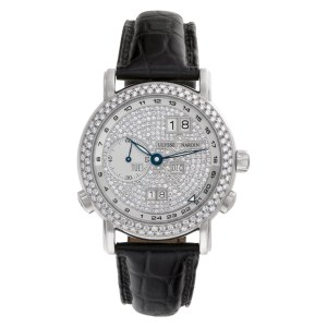 Ulysse Nardin GMT Perpetual Calendar 320-22 18k White Gold factory Pave Diamond