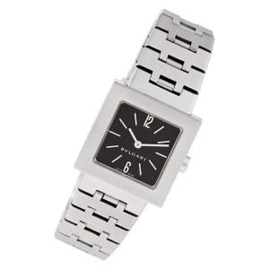Bvlgari Quadrato sq22ss Stainless Steel Black dial 22mm Quartz watch