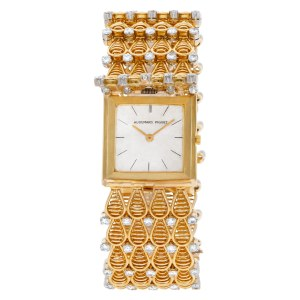 Audemars Piguet Classic 123 18k Cream dial custom diamond bracelet 25.5mm Manual