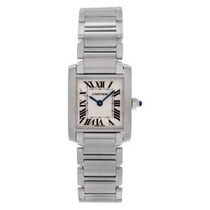 Cartier Tank Francaise w51008q3 stainless steel, white dial 20mm, Quartz watch