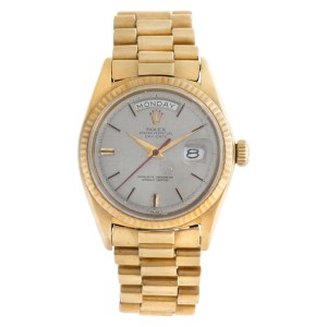 Rolex Day-Date 1803 18k silver linen dial 34mm Automatic watch