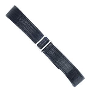 Ebel stainless steel deployant buckle on a slightly used shark skin black strap (19x15)