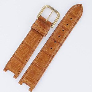 Tissot brown leather strap 18x16 with tang buckle.