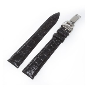 Paul Picot black gloss alligator strap with stainless steel deployant buckle 19mm x 16mm
