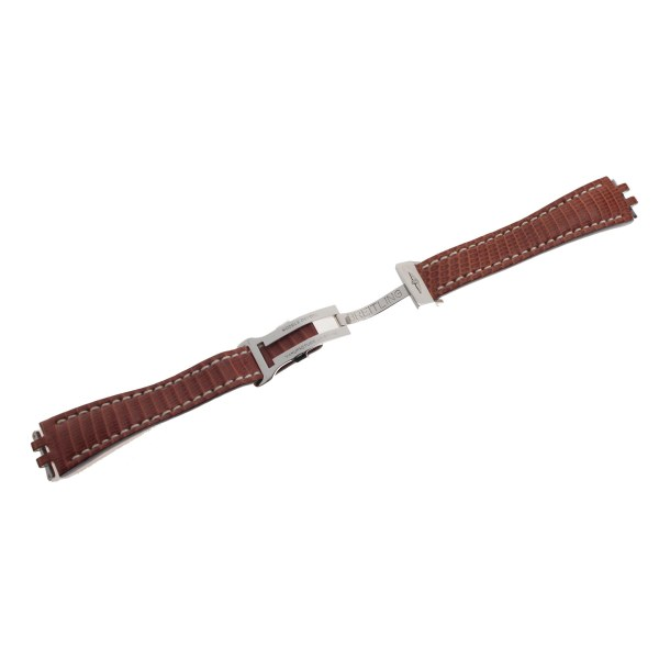 Breitling brown lizard strap 19x14 with stainless steel deployment buckle