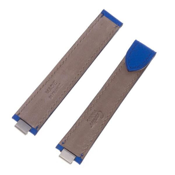 Les must de Cartier blue leather strap for deployant buckle 7.8mm x 14mm