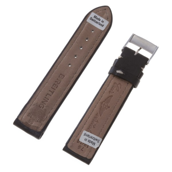 Breitling black leather strap with white stitching and original tang buckle (18x16)