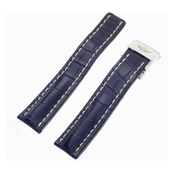 Breitling Blue Alligator Deployant Band With White Stitching Accents (22x20)