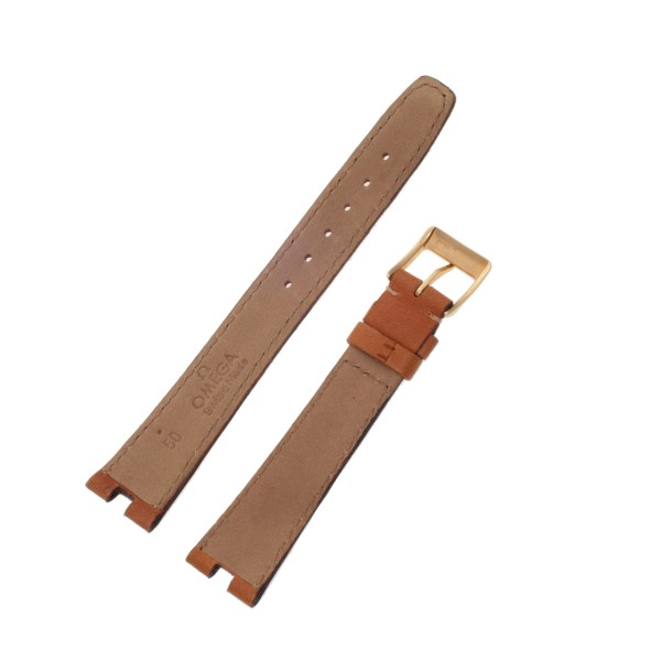 Omega light brown calf skin strap with buckle(18x14)