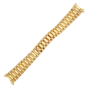 Custom Italian President-style bracelet for midsize Rolex replacement in 18k yellow gold (17mm x 13mm)