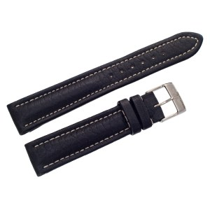 Breitling black leather strap with white stitching and original st/s buckle (18mm x 16mm)