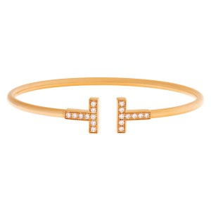 Tiffany & Co. Wire Bangle In 18k Rose Gold With Diamonds.