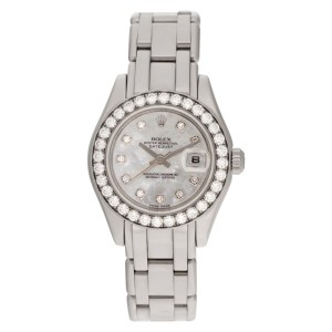 Rolex Pearlmaster 80299 18k white gold 28mm auto watch