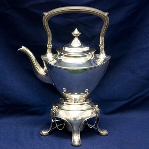 """Gorham Solid Sterling Silver Water Kettle mark """"3566"""" with burner and stand 50.93 oz troy"""