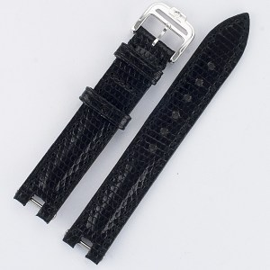 Baume & Mercier Linea black lizard strap with tang buckle (14x14)