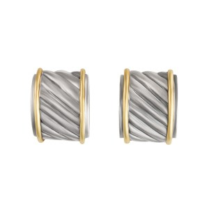 David Yurman Thoroughbred Cable Earring In 14k Yellow Gold And Sterling Silver