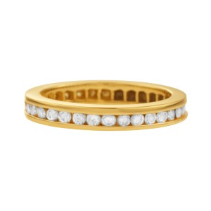 Diamond Band In 14k Yellow Gold. 0.50 carats in clean white diamonds. Size 4.25