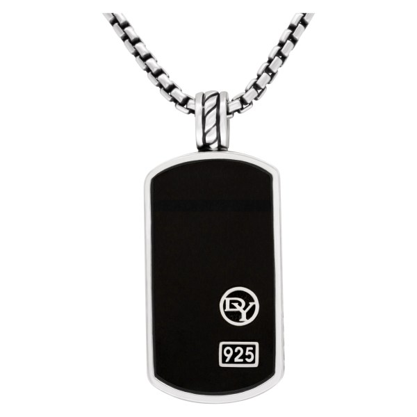 David Yurman silver chain with onyx pendant