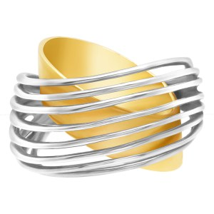 8 row two tone ring in 18k white and yellow gold