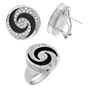 Mesmerizing diamond and black onyx swirl earring and ring set