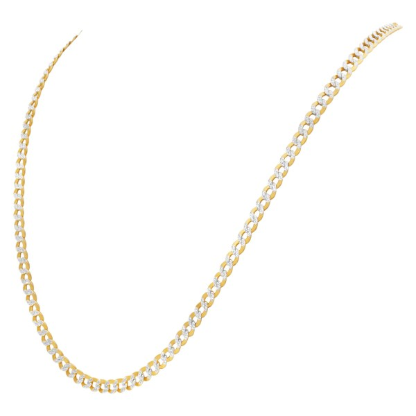 Italian chain necklace in 14k yellow gold with white gold accents