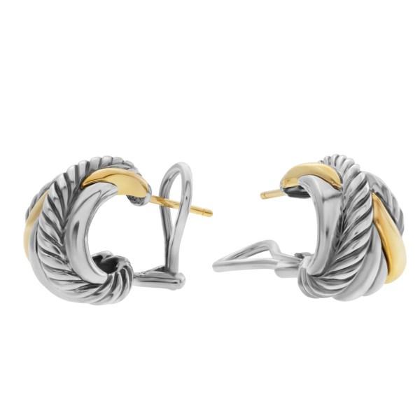 David Yurman Crossover Huggie Hoop earrings in 18k and sterling silver