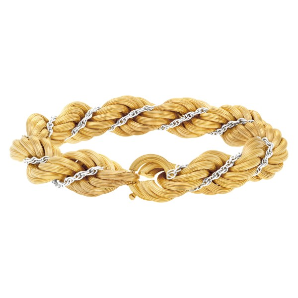 """Thick """"Rope"""" bracelet in 18k white and yellow gold"""