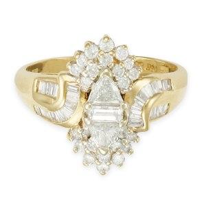 "Fashion ""ballerina"" style diamond ring in 14k yellow gold. 0.65 carats (J, SI-1)"