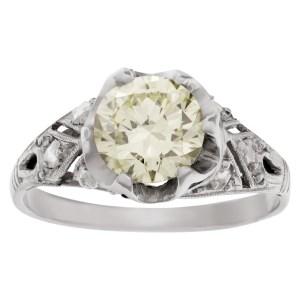 GIA certified rectangular modifed diamond ring set in platinum
