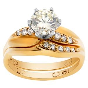 GIA certified round brilliant cut diamond 1.05 carat (W-X Color, VS-1 Clarity) ring