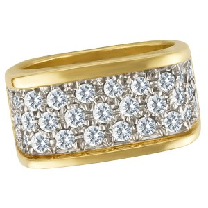 Beautiful 3 row pave diamonds ring with app. 1.50 carat in diamonds Size 6
