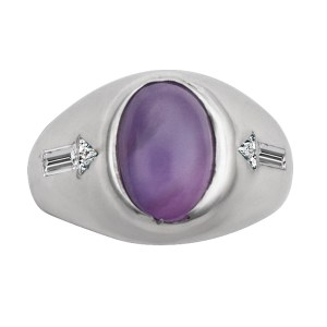 Star sapphire ring with diamond accents in 14k white gold. 2.00 cts sapphire cabochon