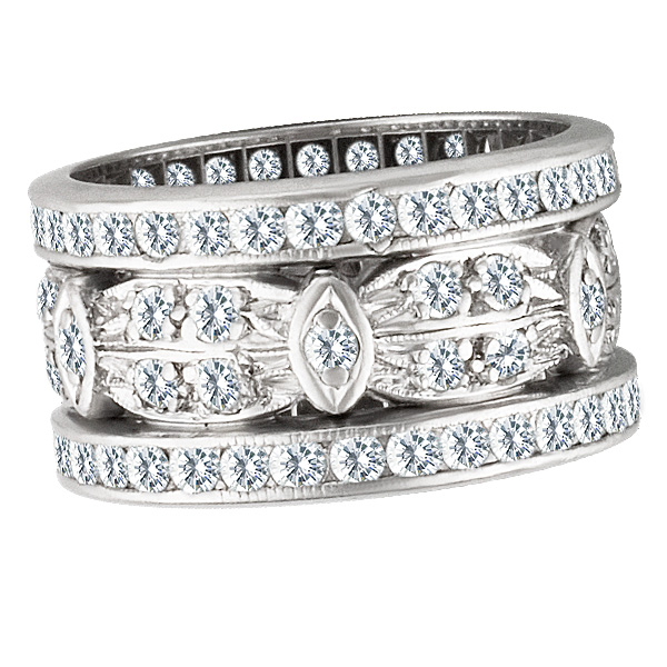 Platinum diamond ring with approximately 2 carats in diamonds. Size 6