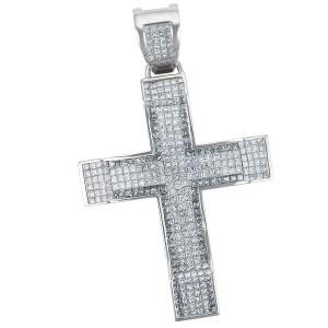 Stunning Diamond Cross pendant in 14k white gold. Approx 8 carats.