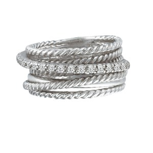 David Yurman cable wraped diamond band in 14k & sterling silver